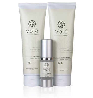 Vole 3-part Hair Regeneration kit for follicle nourishment to prevent and restore thinning hair.
