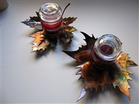 Metal Art Leaf Candle Holder Maple Leaf Set of 2