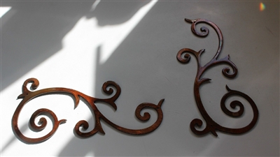 Decorative Scroll Duo Copper/Bronze plated Metal Art Decor (Sm.)
