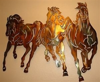 Running Free Western 3 Horses Metal Wall Art Decor