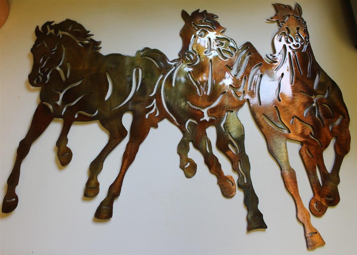 Western Metal Wall Art 3Horses21507736678