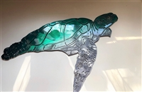 Aquatic Large Sea Turtle Metal Decor Teal Tinged 34""