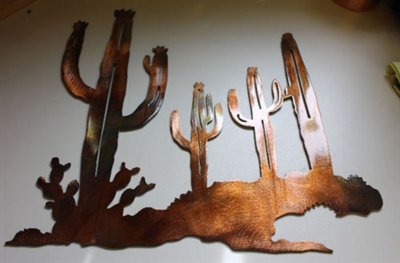 Arizona Cactus Scene Copper/Bronze Art