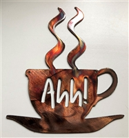 Ahh! Coffee Cup Metal Wall Art  7 3/4""