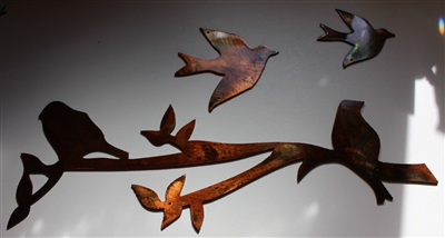 Birds on a Limb 3 piece set Metal Wall Decor