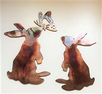 Playful Bunny Pair Metal Wall Art Accents