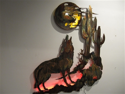 Coyote Howling at the Moon Metal Wall Art