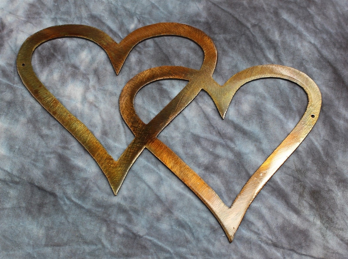 Double Hearts Metal Wall Accents Copper Bronze