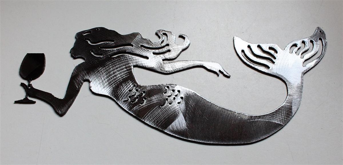 a07b24cf4d0 Drink like A Fish Mermaid Metal Wall Art Silver 11