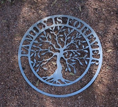 Family is Forever Olive Tree Metal Wall Art SILVER