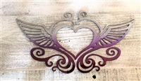 Heart with Wings Metal Wall Art