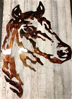 "Horse Head Metal Wall Art Western Decor 40"" Tall"