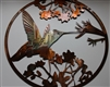 HUMMINGBIRD Circle METAL WALL ART DECOR copper/bronze plated