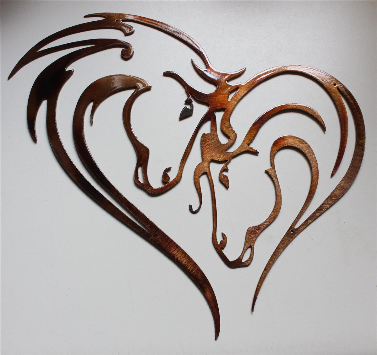 Mothers Heart Horse Heart Metal Art