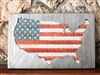 Patriotic Rustic Industrial USA Map Metal Art