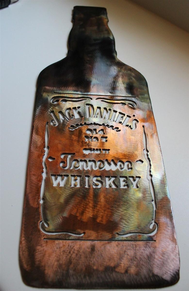 Jack Daniels Bottle Metal Wall Art Decor Copper Bronze