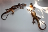 Small Counter Top Gecko Pair w/Turquoise eyes Copper/Bronze Plated Pair
