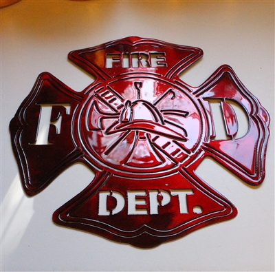 Firefighters Maltese Cross Metal Art