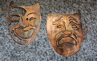 Comedy and Tragedy Mask Combo set copper/bronze plated