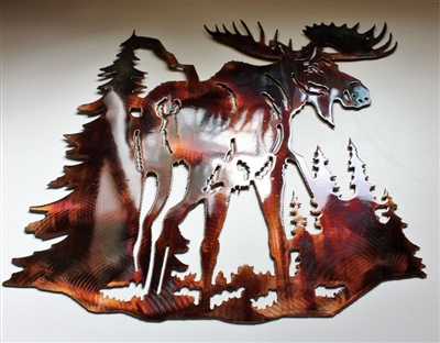 Mountain Dwelling Moose Metal Wall Art