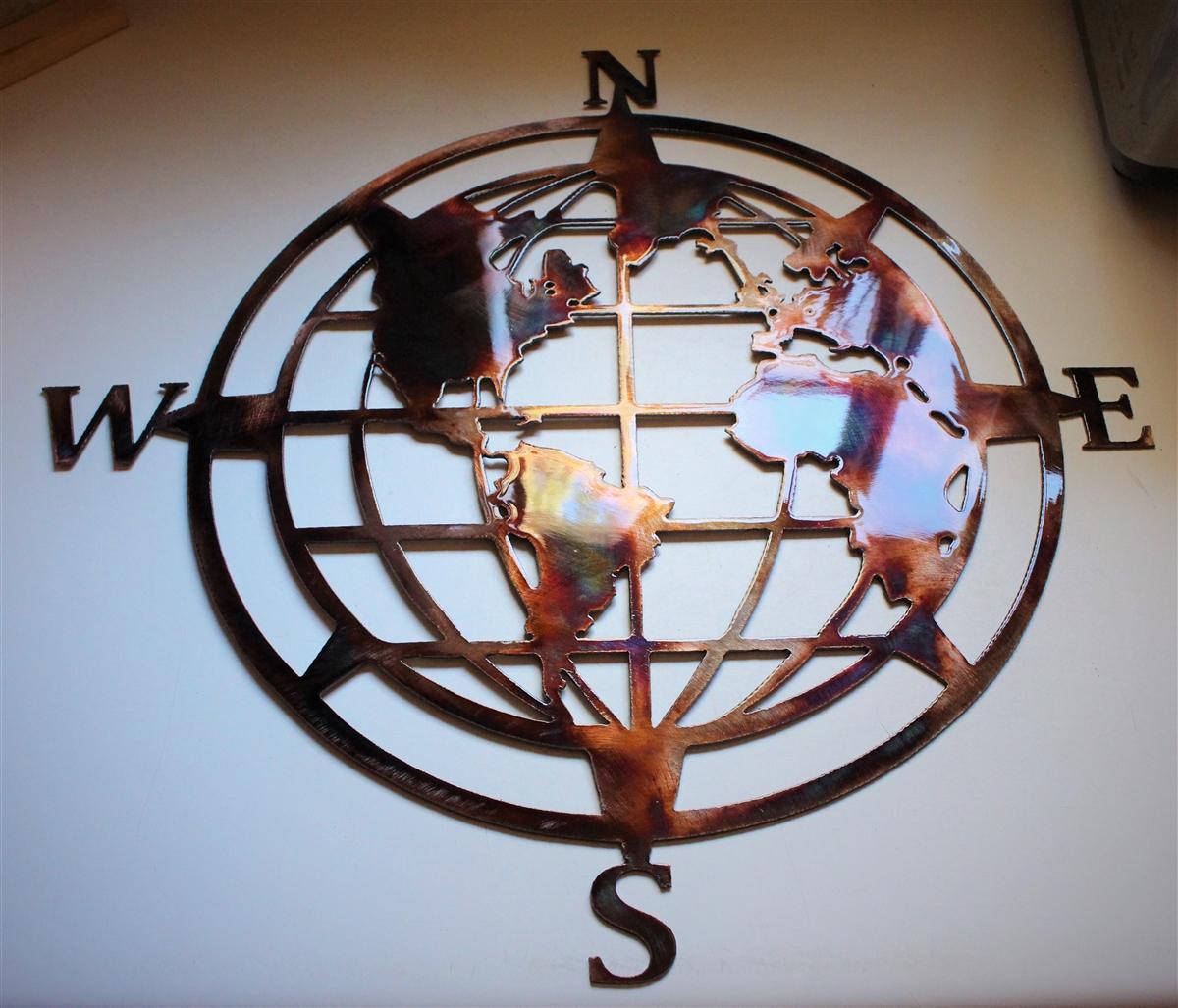 Nautical Compass Rose With Globe Center
