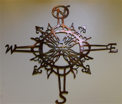 "Ornamental Nautical Rose Wall Art Metal Decor 20"" copper/bronze plated"