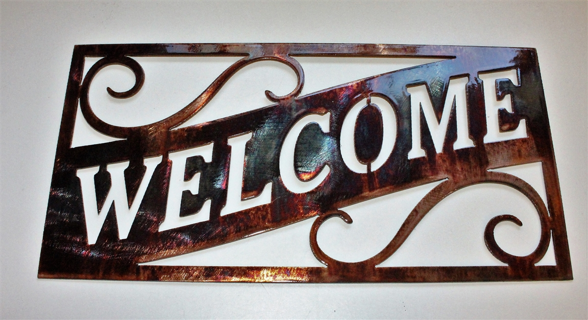 Ornamental Welcome Metal Wall Art Larger Photo