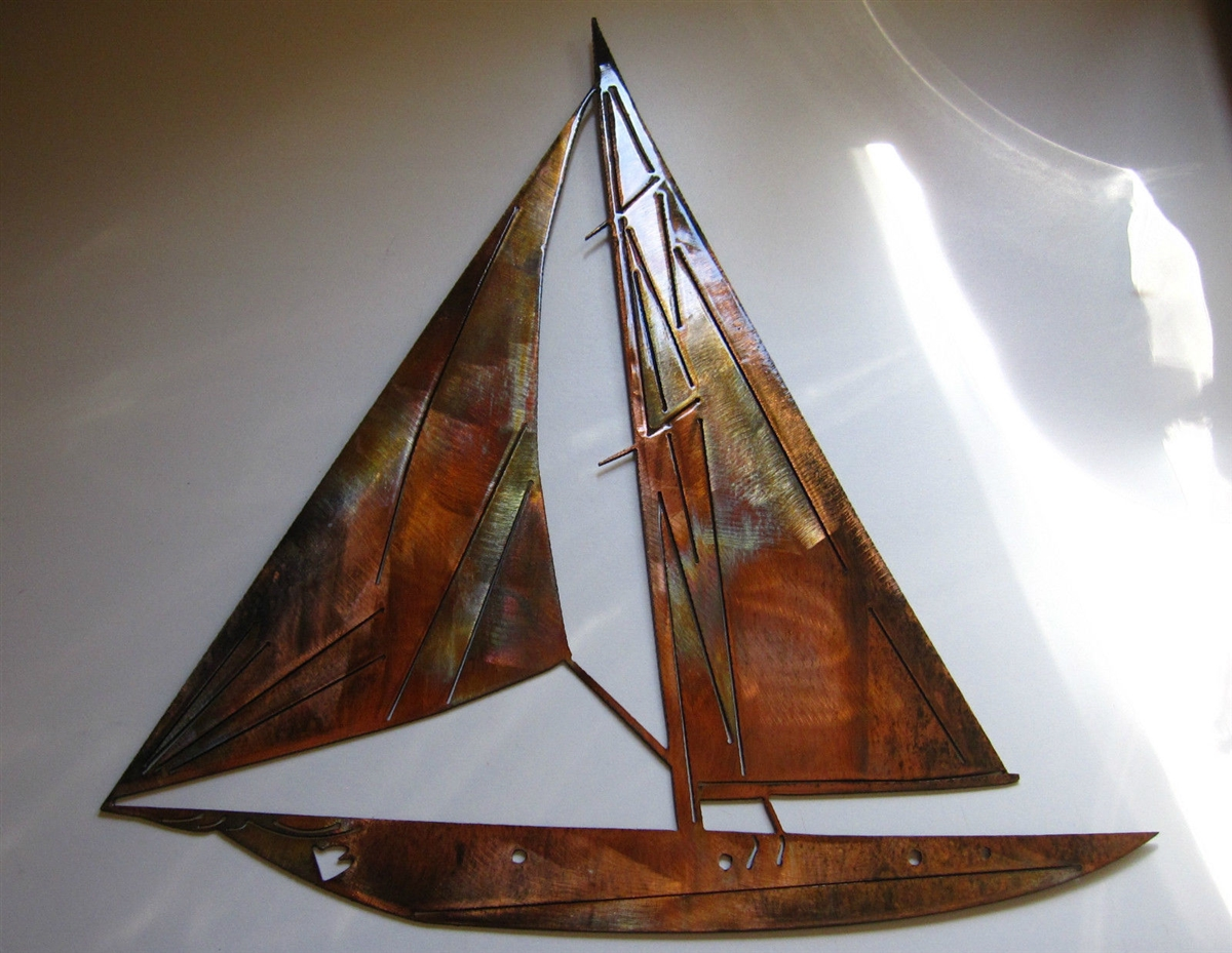 Nautical sailboat wall art decor copper bronze plated