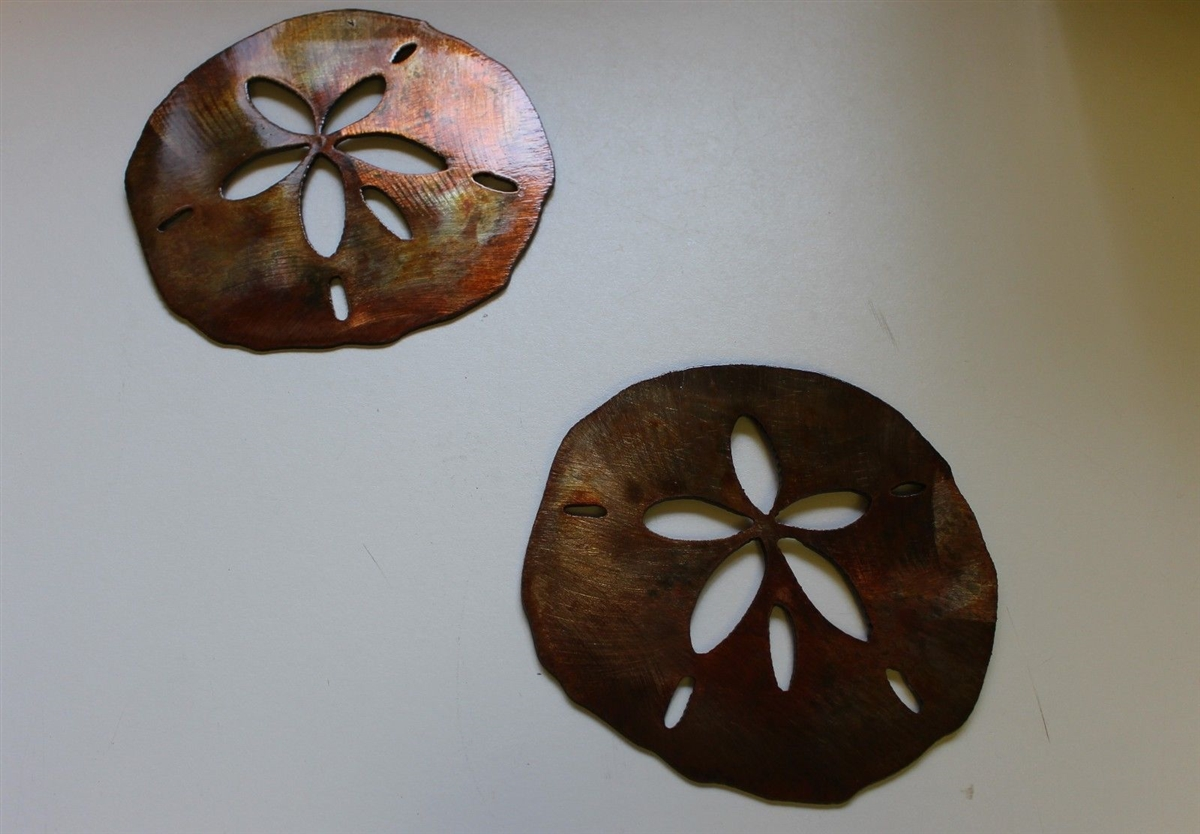 Sand Dollar Pair Tropical Metal Wall Art Accents & Sand Dollar Pair