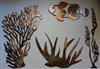 Sea Coral/Plant Collection of 3 plus Fish Metal Wall Art Decor