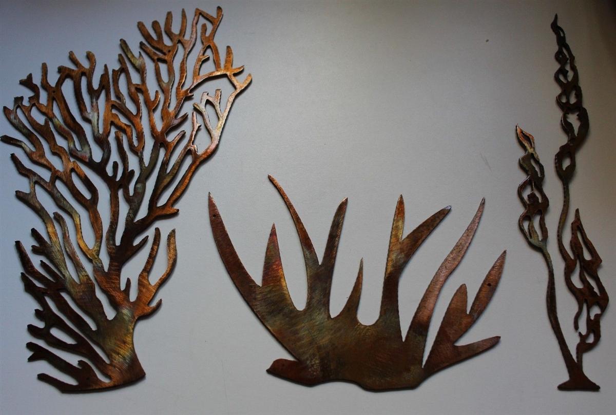 metal fish art wall decor.htm sea coral plant collection of 3 plus fish metal wall art decor  plus fish metal wall art decor