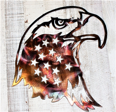 Patriotic Stars Eagle Head Metal Wall Art Decor