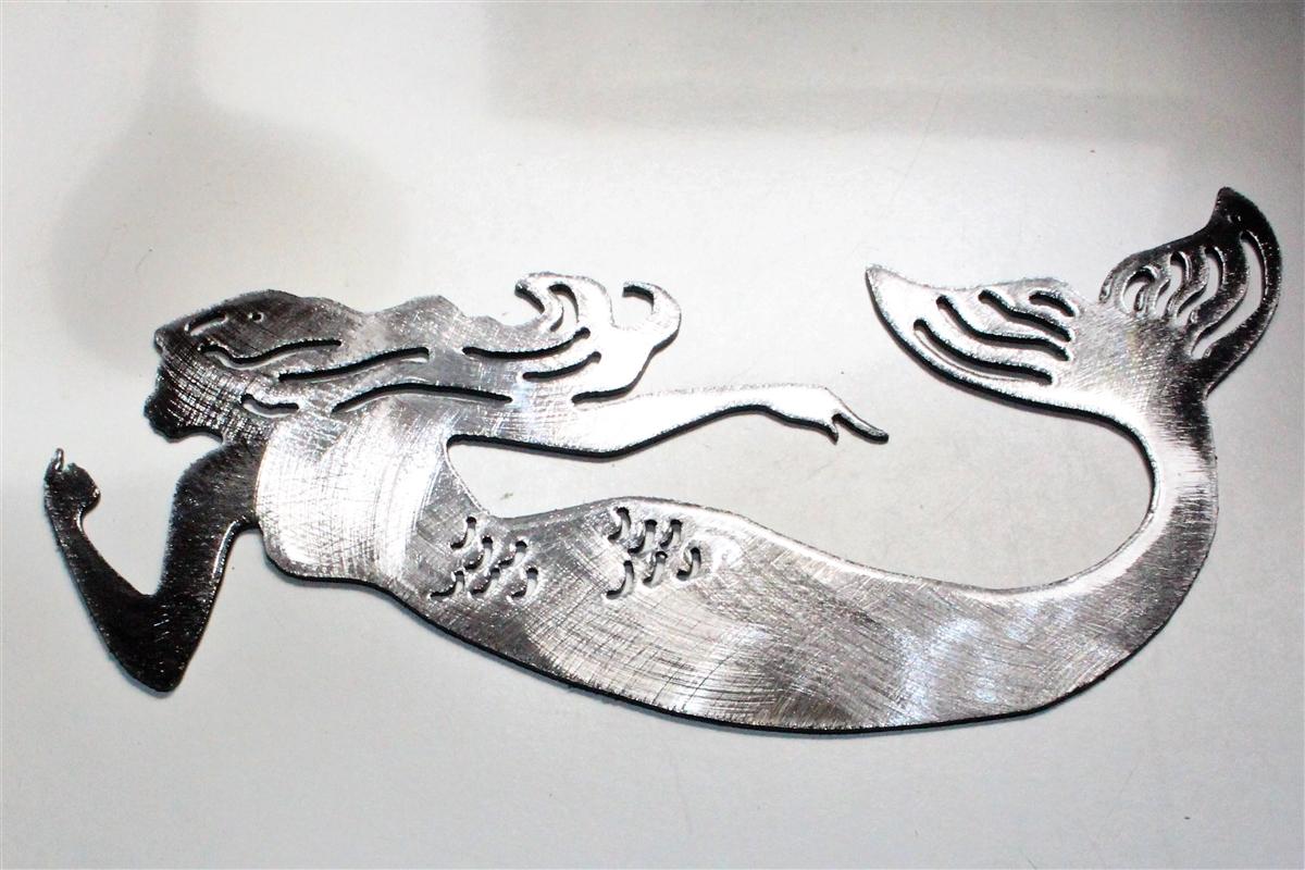 e4e4039432c Swimming Mermaid Metal Wall Art Silver