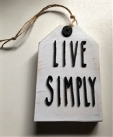 Live Simply Wooden Tag Shelf Accent