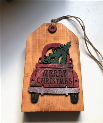 Merry Christmas Red Truck with Tree Tiered Tag Wooden Décor