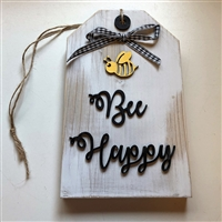 Bee Happy Wooden Tag Decor Tiered Tray or Shelf Accent