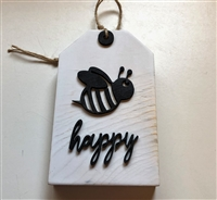 Bee Happy Wooden Tag Shelf Accent
