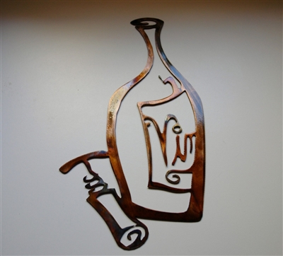 Vino Metal Wall Art Decor Wine Bottle And Opener Copper