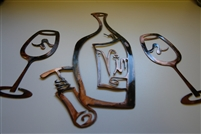 Vino Wine Bottle and Wine Glass Set Copper/Bronze Plated