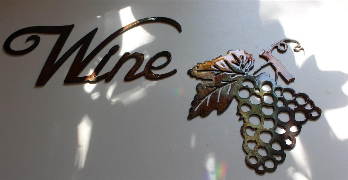 & Metal Wall Art Decor small Grape Bushel u0026 Wine Sign