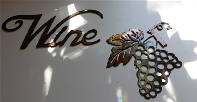 Metal Wall Art Decor small Grape Bushel & Wine Sign