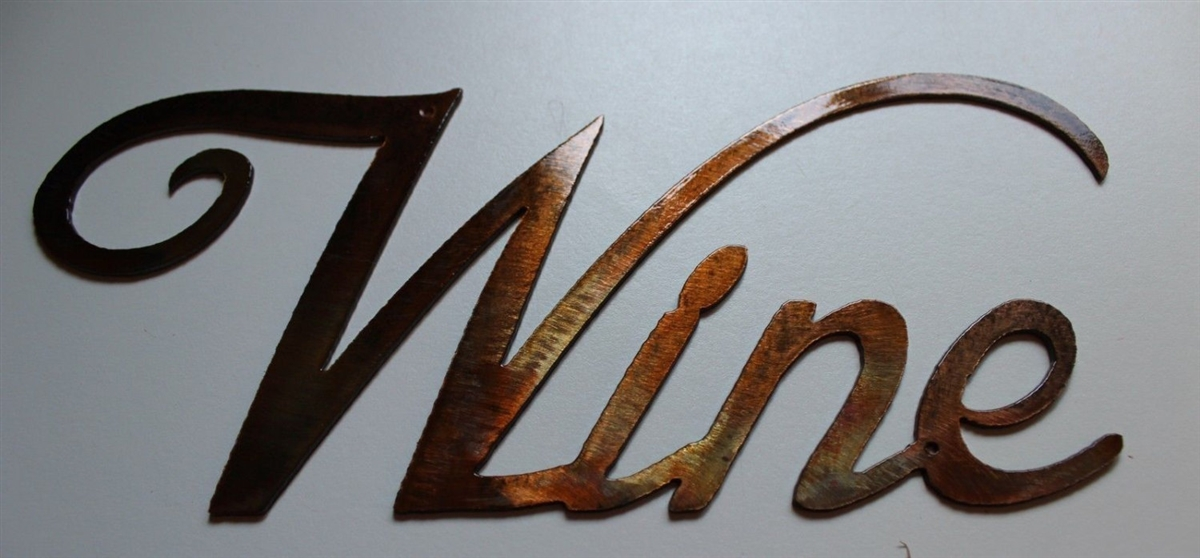 Small Metal Wall Art metal wall art decor small grape bushel & wine sign
