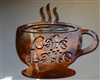 Cafe Latte Mug Metal Wall Art Decor Copper/Bronze Plated