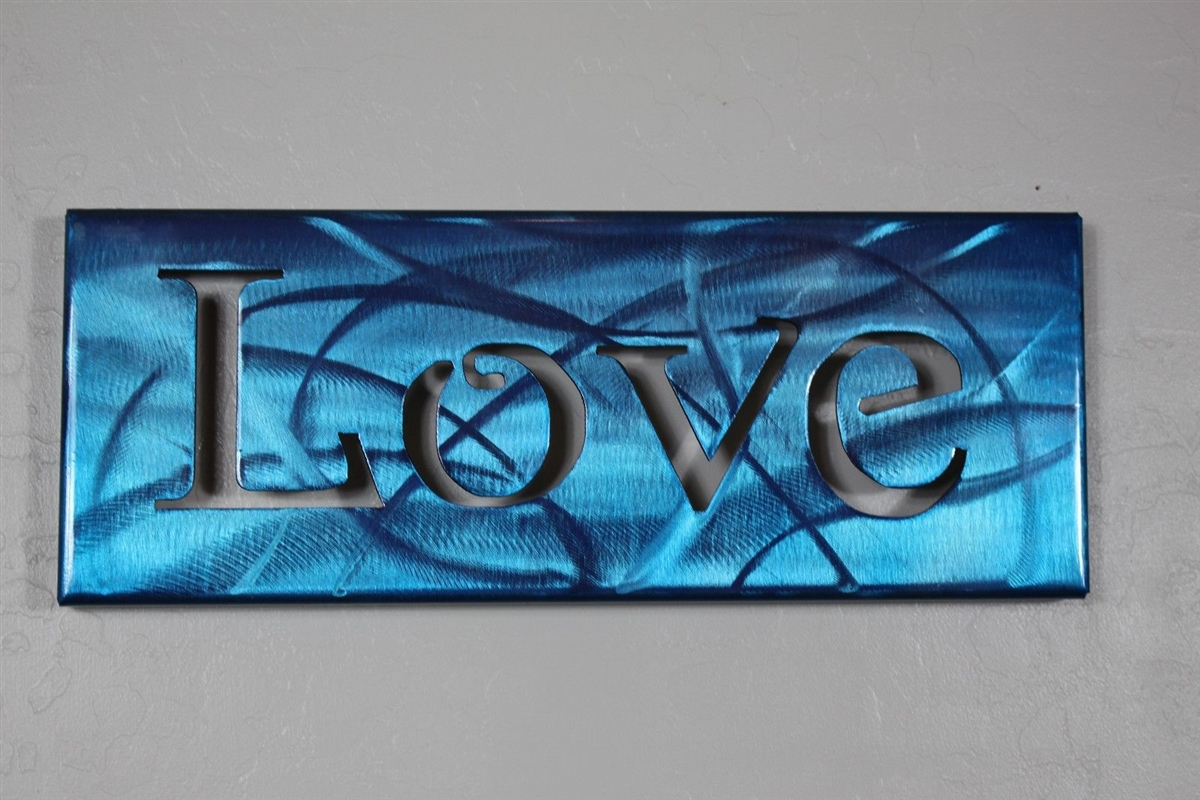 Blue Metal Wall Art Simple Metal Art Canvas Love  Metallic Blue Inspiration Design