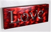 Metal Wall Art Canvas LOVE -- Metallic Red