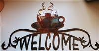 Coffee Cup Ornamental Welcome Sign