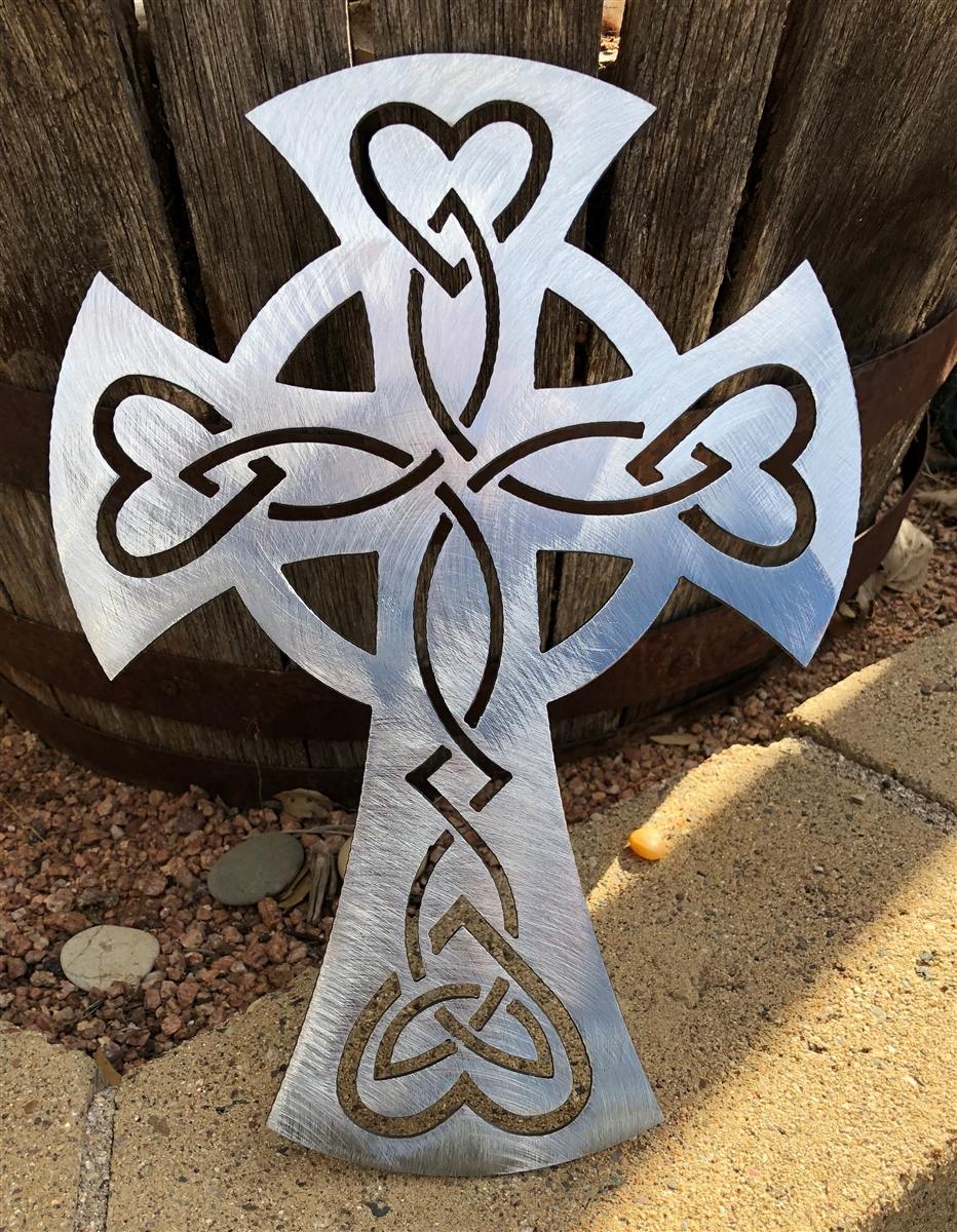 Cross Metal Wall Art Decor Polished Steel