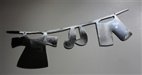 Clothes Line Metal Wall Art - Polished Silver
