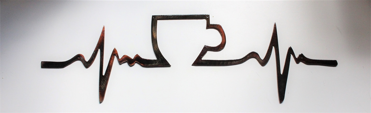 coffee shop kitchen decor.htm coffee heartbeat metal wall decor copper bronze plated  coffee heartbeat metal wall decor