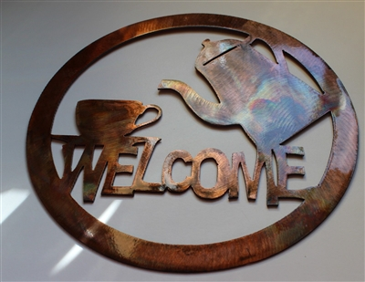 Coffee Welcome Sign Metal Wall Art Decor